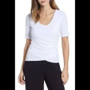 Leith Size Medium Side Ruched White T Shirt